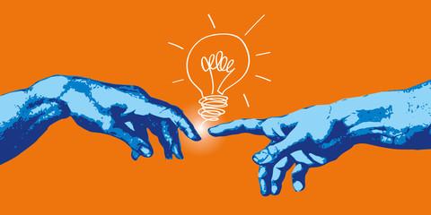 Michel Ange - main - idée - création - concept - créatif - créativité - ampoule, imagination - connexion © pict rider
