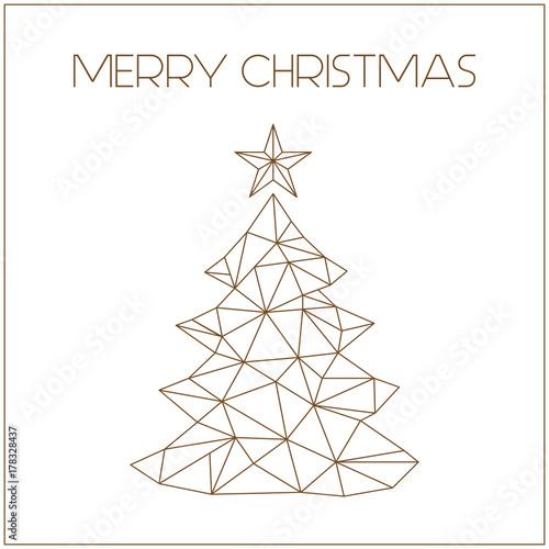 Choinka - złota kartka bożonarodzeniowa