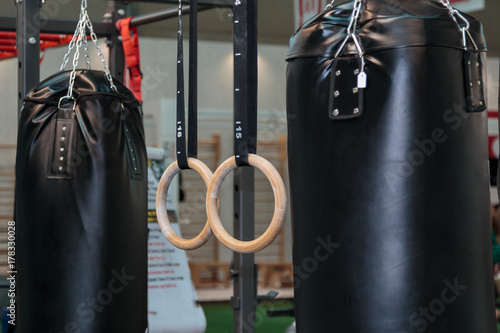 Black Punching Bag and Crossfit Fitness Rings: Workout Equipment Poster