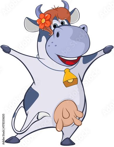 Foto op Canvas Babykamer Illustration of a Cute Cow. Cartoon Character