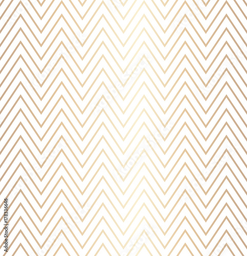 Trendy simple seamless zig zag golden geometric pattern on white background, vector illustration. Wrapping paper zigzag graphic print. Repeating line texture. Modern minimalistic hipster geometry - 178336646