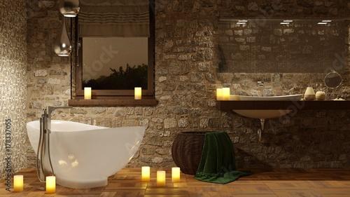 Bagno con vasca e candele romantiche - 178337055