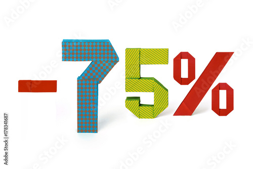 Origami text of discount sale 75 percent Poster