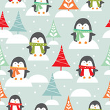 Penguin and christmas tree pattern
