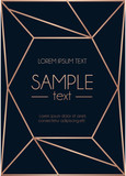 Geometric rose gold design template. Modern design for wedding invitation, greeting card, anniversary. Navy blue background with geometric rose gold ornament. Vector illustration