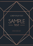 Geometric rose gold design template. Modern design for wedding invitation, greeting card, anniversary. Navy blue background with geometric rose gold ornament. Vector illustration - 178347052