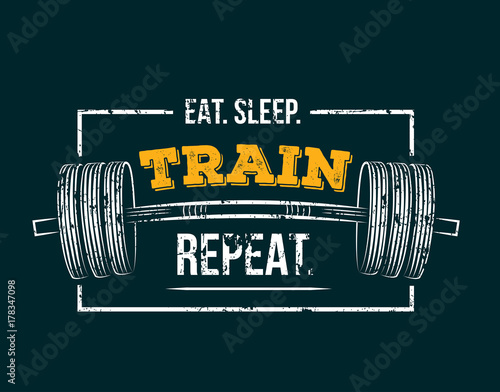 Plakát Eat sleep train repeat