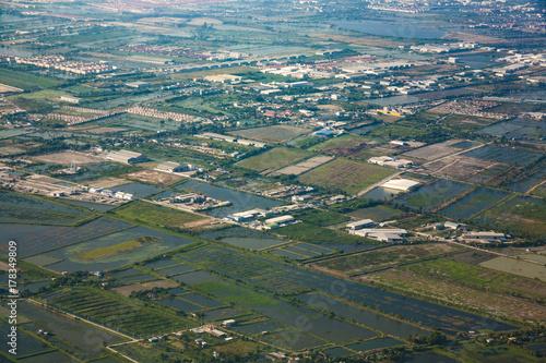 Foto op Plexiglas Bangkok aerial of rice fields near the Airport in Bangkok
