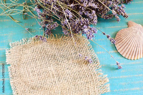 Fotobehang Spa sea shell and lavender on wooden background