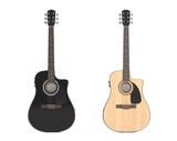 Two  Wooden Acoustic Guitars. 3d Rendering