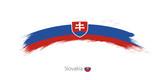 Flag of Slovakia in rounded grunge brush stroke.