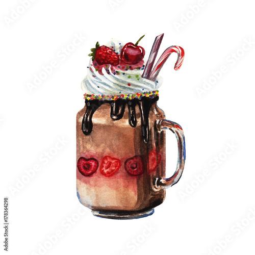 Watercolor chocolate shake