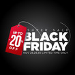 Black friday tag, special offers and discounts