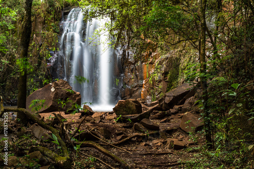 Fotobehang Chocoladebruin beautiful waterfall in preserved forest