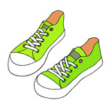 Green sneakers. Summer foot wear. Hand drawn vector artistic sketch. Isolated on white background - 178376455