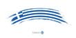Flag of Greece in rounded grunge brush stroke.