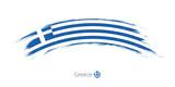 Flag of Greece in rounded grunge brush stroke. - 178378090