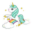Cute magical unicorn and raibow. Vector design isolated on white background. Print for t-shirt or sticker. Romantic hand drawing illustration for children.