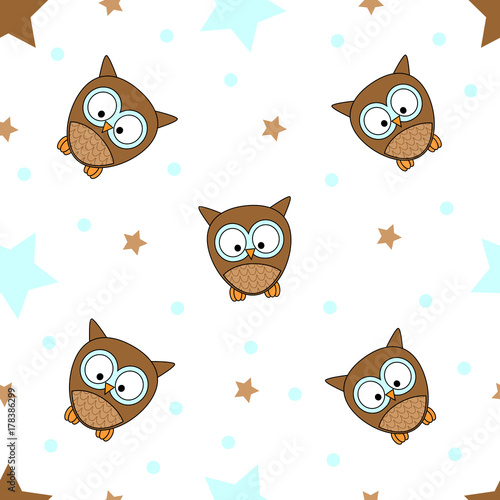 Aluminium Uilen cartoon Seamless tiling texture with colorful owls, stars and dots