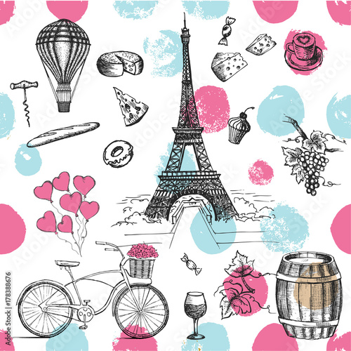 Sticker Set of hand drawn French icons, Paris sketch illustration