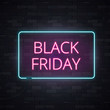 Black friday sale neon frame sign light electric banner glowing on black brickwall background, vector illustration