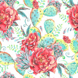 Watercolor seamless pattern with roses, cactus - 178390861