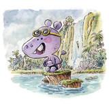 hipopotamo en el agua - 178392034