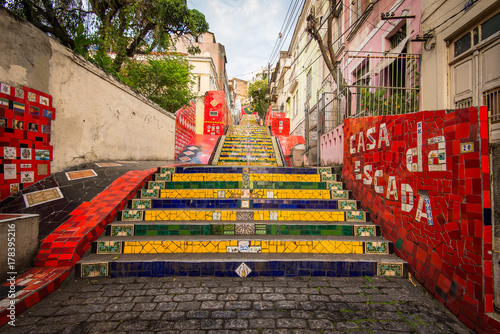 Famous Colorful Stairs in Rio de Janeiro City Center, Made by Chilean Artist Jor Poster
