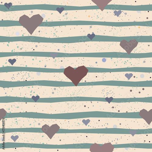 Keuken foto achterwand Vlinders in Grunge Cute Hearts Background. Seamless Pattern with hearts