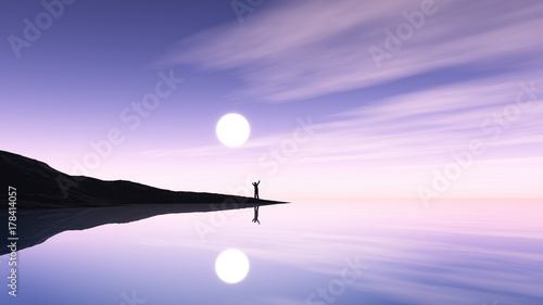 3D male figure stood on island against a purple ocean landscape