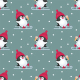 Christmas seamless pattern with the image of cute penguins. Children's vector background.