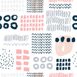 Abstract seamless pattern with hand drawn textures.