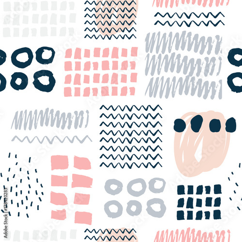 Fototapeta Abstract seamless pattern with hand drawn textures.