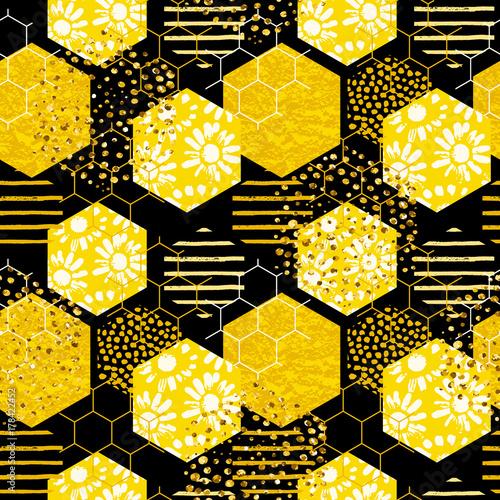 Bezszwowy geometryczny wzór z pszczołą. Nowoczesny abstrakcyjny wzór miodu.
