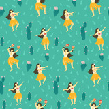 Seamless vector hawaii pattern. Summer background with dancing girls and flowering cactuses. Bright ethnic design. - 178423856
