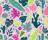 Seamless pattern with wild tropical rainforest. Tropic vector repeating background. - 178423864