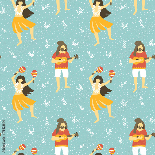 Cotton fabric Seamless vector hawaii pattern. Summer background with dancing girls and men playing ukulele . Bright ethnic design.