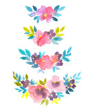 Set stylish watercolor floral dividers. Hand drawn natural decor for cards, illustrations, invitations or gift cards. - 178425236