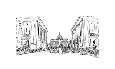 Hand drawn sketch of St. Peter's Basilica, Vatican City, Rome Italy in vector illustration.