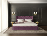 Classic luxury modern chic bedroom with tufted bed front view - 178427439