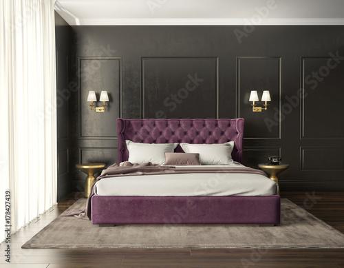 Klasyczna luksusowa nowoczesna elegancka sypialnia z widokiem na łóżko z czernicą