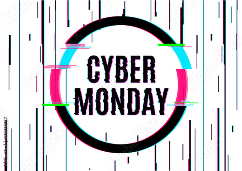 Cyber monday vector banner template in distorted glitch style. Vector illustration design.