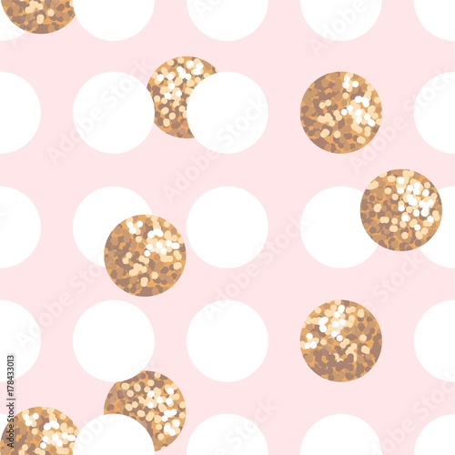 Seamless pattern with pink, white and golden circles. Abstract vector illustration