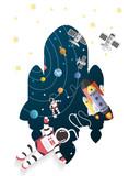 Astronaut cartoon with a spaceship in orbit,paper art - 178434440