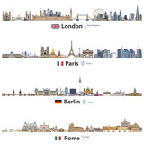 vector illustration of London, Paris, Berlin and Rome city skylines isolated on white background. Flags and maps of United Kingdom(and England), France, Germany and Italy