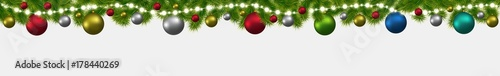Christmas and New Year banner with fir-trees, garlands and glowing lights. Christmas card, flyer or site header.