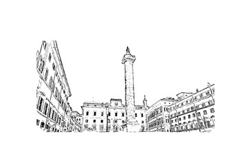 Hand drawn sketch of Fontana Di Piazza Colonna, Rome Italy in vector illustration.