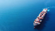 Leinwanddruck Bild - Ultra large container vessel (ULCV) at sea - Aerial image