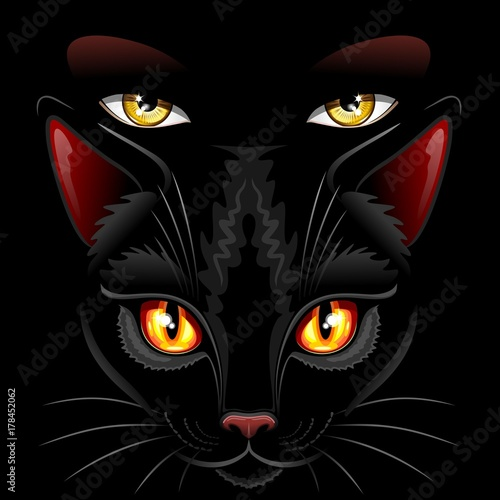 Tuinposter Draw Witch Black Cat Eyes Sorcery