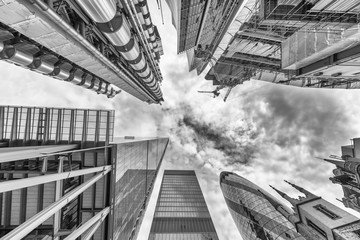 City of London. Skyline as seen from street. Skyward view. Business concept